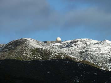 Snow on the surrounding hills (Radar Station). The snow lasted for 3 days.